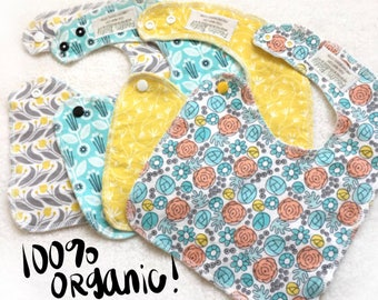 SALE - Shabby Chic Organic Side Snapping Bibs - Drool Bibs - Easter - Pascha - Spring Floral Collection