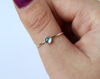 Apatite Ring - Blue Promise Ring - Sterling Silver Ring for Her - Dainty Silver Stack - Simple Layer Ring - Delicate Stacking Jewellery
