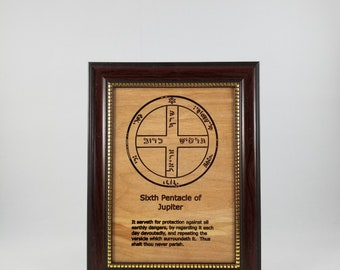 Sixth Pentacle of Jupiter.  This laser engraved wood plaque is framed.  Size is 5 x 7 inches.