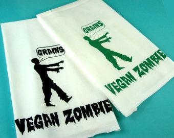 Zombie Kitchen Towel - Vegan Vegetarian Gift - Tea Towels Monster Sci Fi  retro kitchen -Screen Print - eco friendly gifts