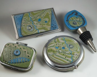 CHOICE of Denim Blue Olive Green Accessories - Compact Mirror, Pill Box - 124