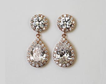 Rose gold Tear Drop Earrings Wedding Earrings Hypoallergenic Bridal Jewelry Clear white cubic zirconia Crystal Earring Bridesmaid gift