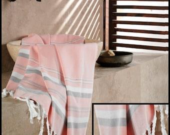 Peshtemal - PINK with Grey and White Striped - 60% Cotton, 40 Bamboo - Traditional Turkish Towel - Turkish Fouta