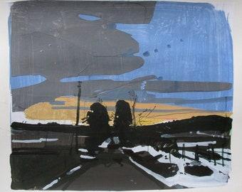Sundown, Last Turn, Original Spring Landscape Collage Painting on Paper, 11 x 15 Inches, Stooshinoff