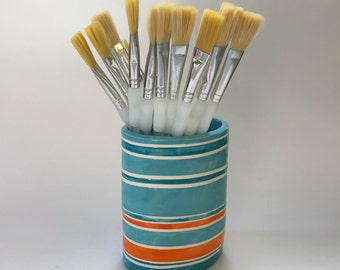 turquoise & tangerine orange Stripes pottery Vase or pencil cup  :) home decor, whimsical colorful ceramics
