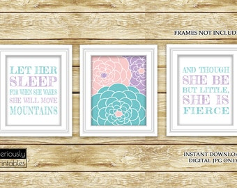 Let Her Sleep She Will Move Mountains And Though She Be But Little Floral Nursery Art Decor Set of 3-11x14 Digital JPG Instant Download (47)