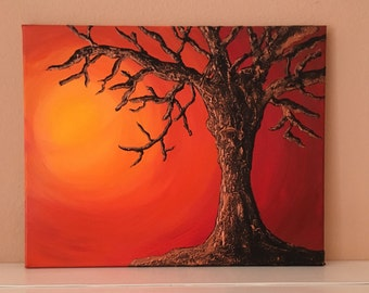 Textured tree in sunset.