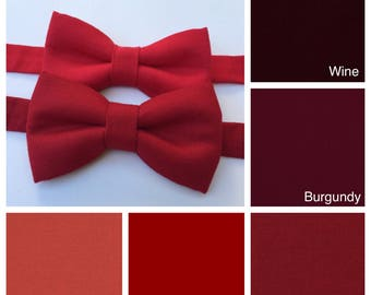 Red bow tie. Red baby boy bow tie. Red man bow tie. Burgundy bow tie. Wine bow tie.