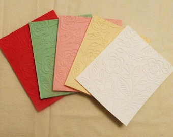 Handmade Floral Embossed All Occasion Greeting Cards, Set of 5, Handmade Greeting Card, Colorgul Card,  Made in the USA, #25G