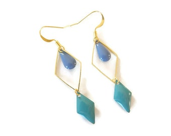 Diamond earrings, gold and blue