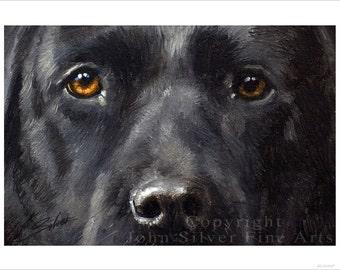 Black Labrador Dog Portrait by award winning artist JOHN SILVER. Personally signed A4 or A3 size Print. BL008SP