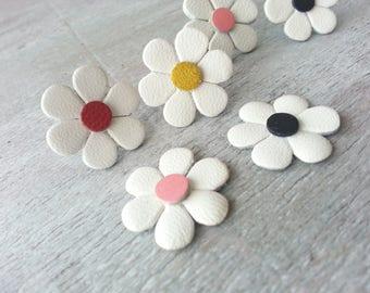 Leather stud earrings Gift under 20 Summer Earrings Flower Earrings Daisy Earrings