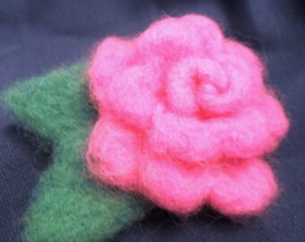 Needle Felted Wool Rose Pin
