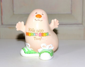 Vintage Human Bean Figurine, Vintage Bean People Kids Are Human Beans Too Porcelain Collectible 1981 Morgan Inc Enesco Imports Bean Figure
