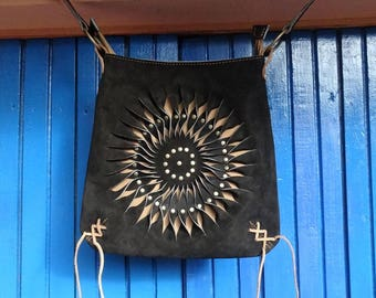 Black Leather Handbag - Leather bag - Boho Design -  Peruvian Leather Design - Ethnic Bag - Bohemian Bags - Spiral Handbag - Purse Bag