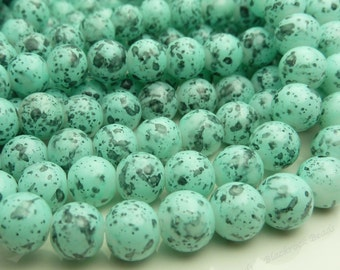 Robin Egg Blue Speckled Round Glass Beads - 8mm Bohemian Beads - 25pcs - BN26