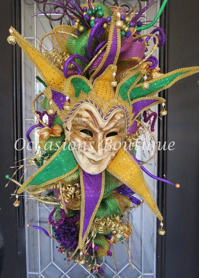Mardi Gras Wreath Mardi Gras Door Swag Mardi Gras