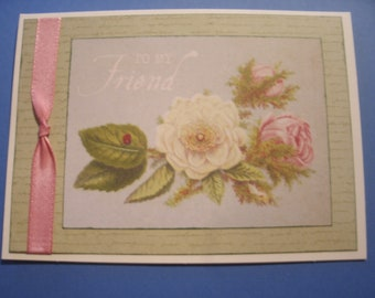 To My Friend Greeting card with rose design & ribbon trim