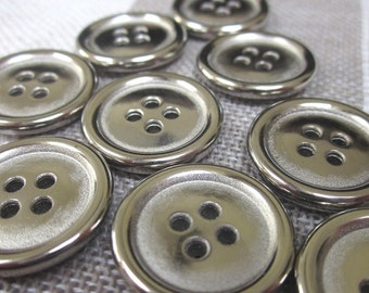 10 Medium Flat Silver Buttons with Rim