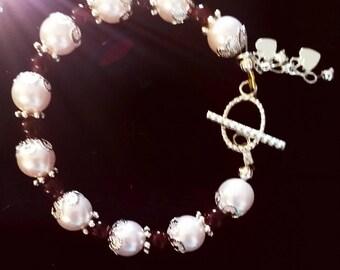 Pink Pearl Heart Charm Bracelet