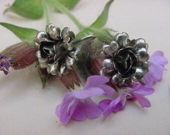 Sterling Silver Vintage Earrings Flowers Cabbage Rose Posy Screwback