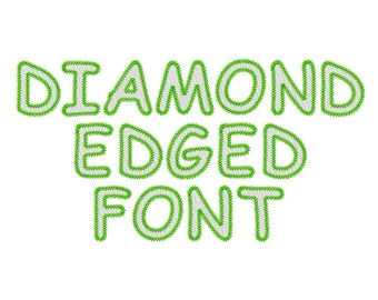 "Diamond Edged Font Alphabet and Numbers Machine Embroidery Design Patterns in 3 sizes 2"", 3"" and 4"""