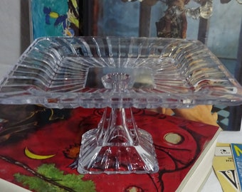 7 1/2 inch Square Glass Cake Plate - Raised Edge wit 5 inch Square Flat Center Section - Vintage - Collectible - Serving - 4 1/2 inch Tall