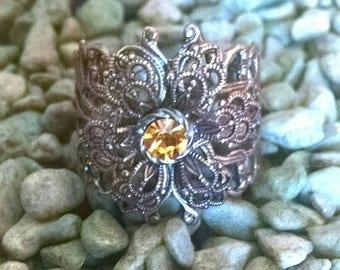 Antique Brass Filigree Flower ring with Vintage Citrine Crystal