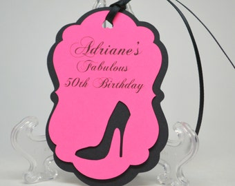 Sexy Birthday Party Tags, Stiletto Heel Bridal Shower Tags, Bachelorette Favors,Birthday Party Favor, Set of 8 Custom Color High Heel Shoe