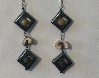 """Hematite, Shell and Jasper Earrings: """"Selke Skin""""/Hematite Earrings/Shell Earrings"""