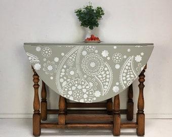 Oak Drop Leaf Table Grey White Paisley Design Top