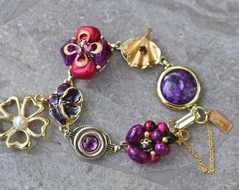 Vintage Earring Bracelet, Bridesmaid Gift, Purple, Berry, Jewel, Boho, Reclaimed, Gold Dangle Flower, Jennifer Jones,  OOAK - Royal Amethys