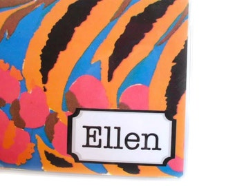 Personalized checkbook cover - Tropical Delight - customized checkbook holder - name, initials, or monogram - turquoise orange magenta