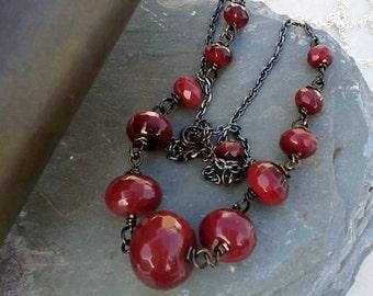 Carnelian Necklace Faceted Wire Wrap Gemstone Art Deco Red orange Carnelian necklace