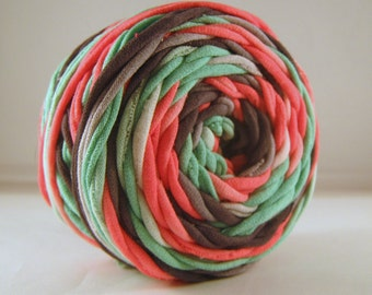 Hand Dye T Shirt Yarn, 60 yards, Pink/Gray/Green, Jersey Yarn, 100% Cotton