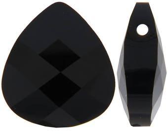 Large Swarovski 6012 Flat briolette in jet black - 15.4x14mm - Swarovski pendant - black crystal