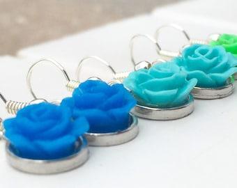 Trendy earrings - Light blue earrings - Flower dangle earrings - Flower dangle earring set