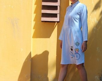 Linen dress cat hand-painted