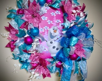 Girl's Room Wreath, Frozen Movie Wall Decor, Olaf Wreath, Hot Pink Wreath, Frozen Glow in Dark Wreath, Girl's Room Decor, Frozen Decorations