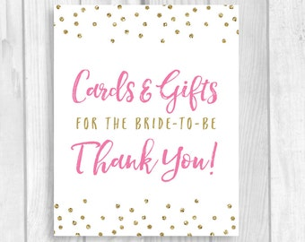 Printable Cards and Gifts for the Bride-to-be 5x7, 8x10 Bridal Shower Gift Table Sign - Pink and Gold Glitter Polka Dots - Instant Download
