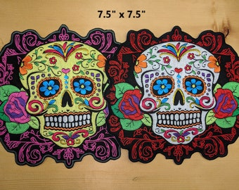 Sugar Skull Patches with Flourish (Day of the Dead)
