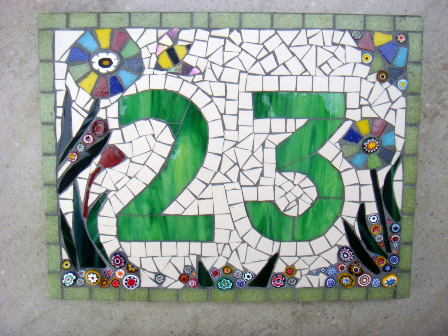 Custom mosaic house number sign plaque street address yard zoom dailygadgetfo Gallery