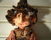 Primitive Witch - Handmade Doll - Primitive - Halloween Decor - Art Doll - Collectible Doll - Primitive Doll - Fall Decor - Witch - Faap