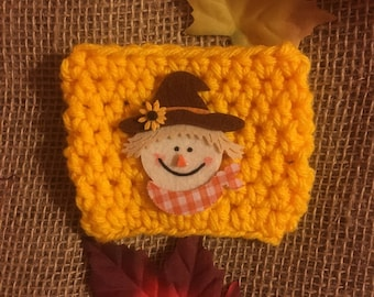 Crochet Cup Cozy with Scarecrow