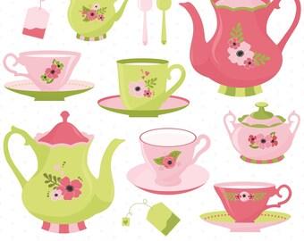 Tea Time Clipart, Tea Party Clipart, Tea Clipart, Tea Cups, Tea Pots, Printable, Commercial Use
