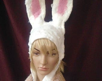 White Rabbit Alice In Wonderland  hat with large posable Easter Bunny Ears with recycled plastic bottle fibres for larp, theatre & cosplay
