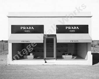 PRADA Marfa Digital Print | Home Decor | Printable | Prada Wall Art |  Digital Download | Black and White Art |