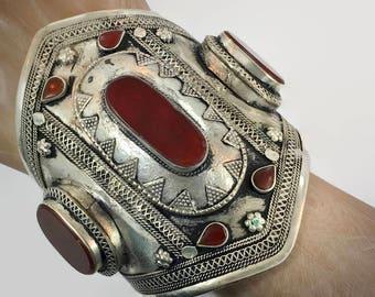Carnelian Bracelet, Silver Wide Cuff, Vintage Bracelet, Turkmen, Kuchi Jewelry, Gypsy, Big Statement, Bohemian, Ethnic Tribal, Large, Boho