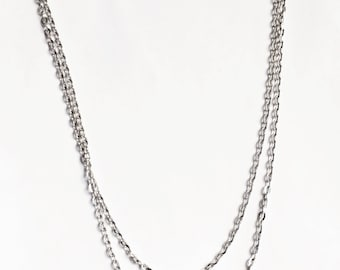 10 strands of 31 inch antique silver flat oval necklace chain with clasp