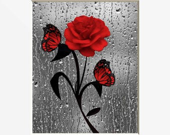 Attirant Red Bathroom Decor, Red Rose Butterflies, Red Gray Modern Home Decor Matted  Picture